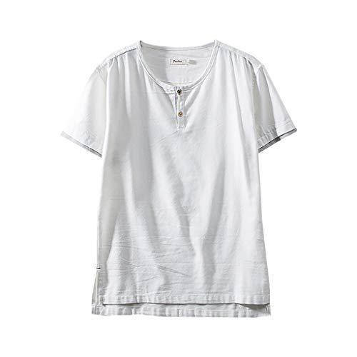 SoonerQuicker Camisas Tops T Shirt 2019 New Moda Hombre Algodón Lino Color...