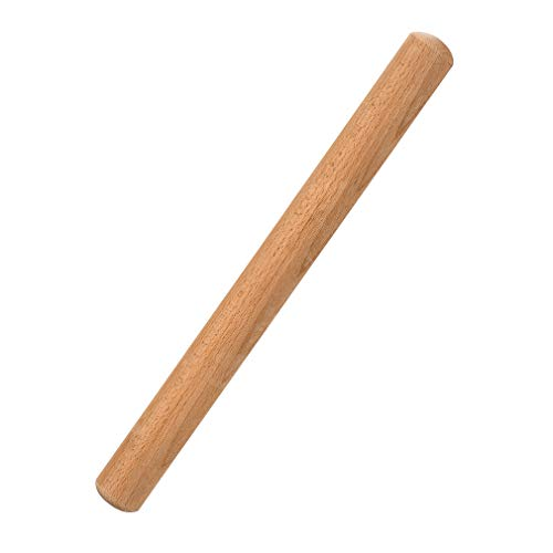 Rolling Pin 15-3/4 Inch by 1-3/8 Inch VANZAVANZU Eco-friendly Natural Beech Wood Dough Roller Classic Wooden Rolling Pins for Baking Pasta Fondant Cookies Pizza Ravioli Dumpling Pie Pastry