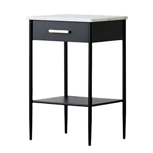 Jcnfa-side table Marble Nightstand, Metal drawers, Sofa side table, Table lamp end table,Metal support frame (Color : Black, Size : 13.77 * 17.71 * 24.80in)
