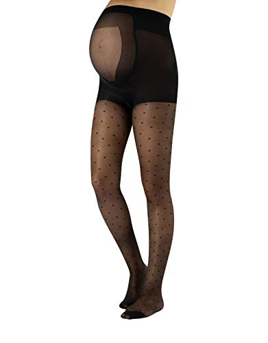 CALZITALY Feine Umstandsstrumpfhose mit Punkten | Schwangerschafts Strumpfhose mit Muster | Übergangszeit Mode | S, M, L, XL | Schwarz | 20 DEN | Made in Italy (M, Schwarz)