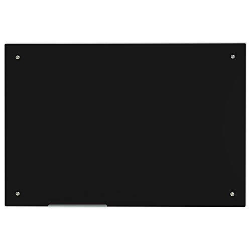 Lockways Glas-Magnettafel Premium schwarz - praktische Whiteboard 60 x 90 cm, Rahmenlos für Schule, Wohnung und Büro