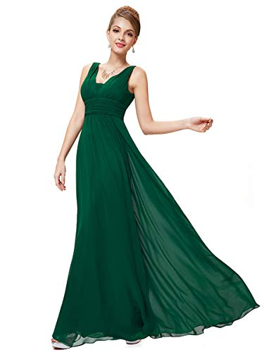 Ever-Pretty Damen Chiffon V-Ausschnitt Lang Abendkleider Abschlussball Kleider Größe 36 Dunkelgrün