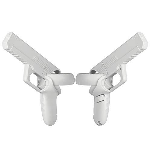 Vakdon Pistola de juego VR para controladores Oculus Quest 2, experiencia mejorada de juegos FPS y juegos deportivos (blanco)