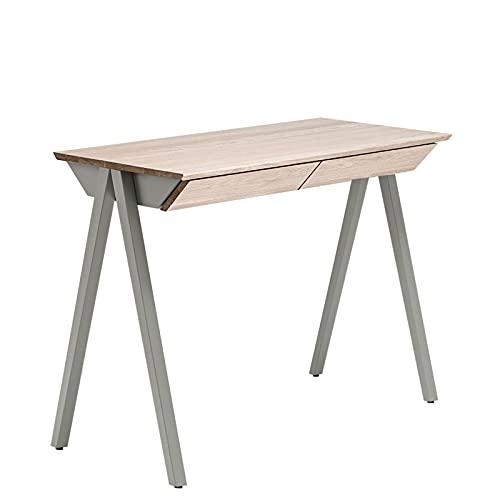 Mesa de escritorio gris y madera