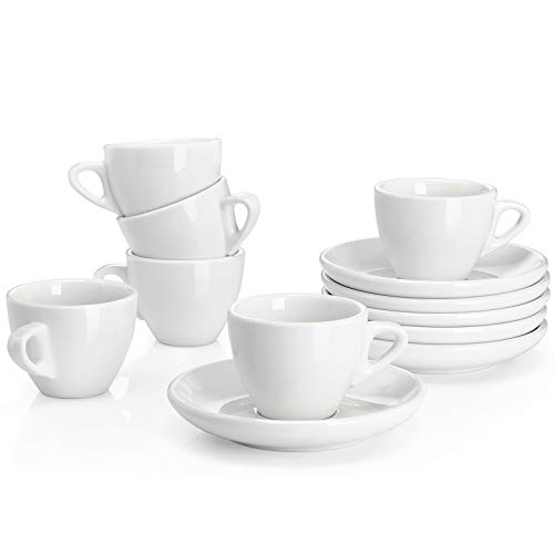 Sweese 401.001 Porcelain Espresso Cups with Saucers - 2 Ounce - Set of 6, White