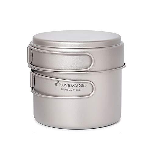 Explopur Camping Titanium Cookset - Batterie de Cuisine Ultra-légère, Casserole de 1100 ML et poêle à Frire de 350 ML avec poignées repliables - Ta8327B-1