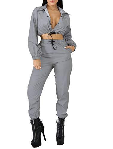 Ensemble de Deux pièces réfléchissantes avec Cordon de Serrage et Dessus de Pantalon Hip Hop Club Survêtement Survêtement Joggers Costume (XL)