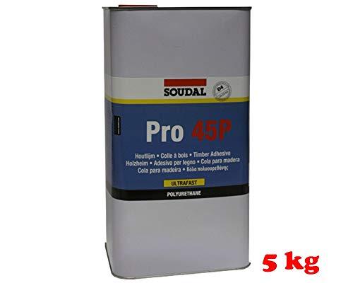 Soudal Holzleim PRO 45 P, sehr schnell trocknender und anwendungsfertiger Kleber auf Polyurethan-Basis, beige, Kanne: 5kg