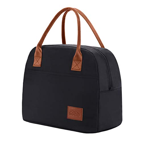 Moyad Kühltasche Klein Leicht Lunch Tasche Isoliertasche zur Arbeit Schule Faltbar Wasserdicht Reißverschluss 12L Schwarz
