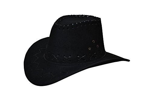 Miobo Cowboyhut Westernhut Cowgirl australien Texas Cowboy Hut Hüte Western für Erwachsene und Kinder (One Size, schwarz für Kinder)