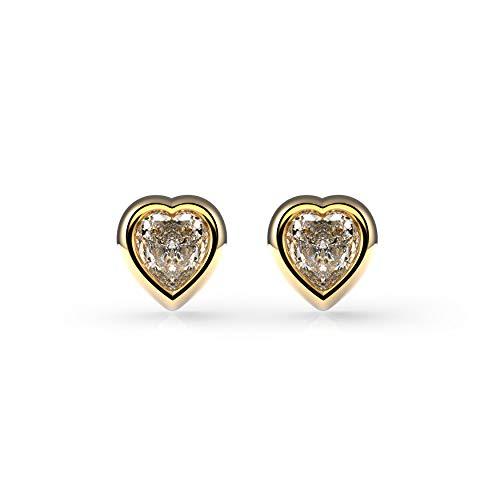 Belle Queen 'Swarovski Collection' - Pendientes Mujer Plata de Ley Bañados en Oro 24k con Piedra Swarovski en Forma de Corazón de 7 mm- 7 mm