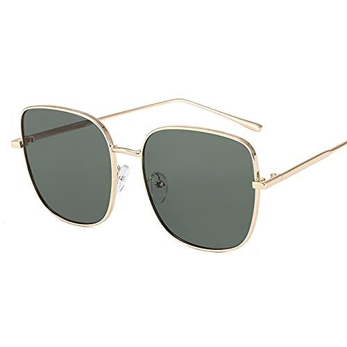 XINMAN Gafas De Sol Polarizadas De Moda Gafas De Sol A Prueba De Viento De Personalidad Retro Tendencia Visera Reflectante De Conducción Marco Dorado Película Verde Oscuro