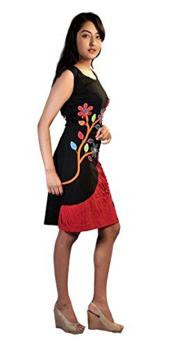 TATTOPANI Ärmellos schwarzen und roten Kleid mit bunten Blumen - Prints und Stickereien…