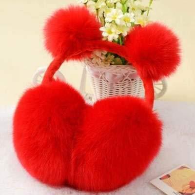 LLDKA Orejeras Gran Sombrero oído Hermosa Chica Calentador de Manta Mujer Virgen para el oído Paquete de Invierno Oreja Colgando niña de Felpa,Rojo