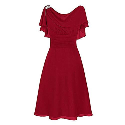 Robe Femme Chic,Robe Or,Robe Bustier Plage,Robe De Soiree Fille,Robe De Coiffure,Rouge,XL