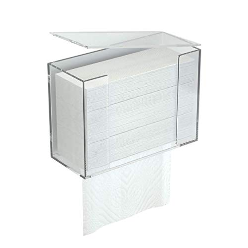 FEMELI Clear Acrylic Paper Towel Dispenser, Wall Mount Or Counter Top Holder for C-Fold Multifold Z-Fold Trifold Paper Towel Hand Napkin with Lid