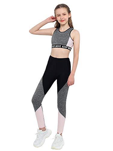 MSemis Niña Conjuntos Deportivos Sujetador+Leggings Largos Elástico Crop Top Bra Camiseta Sin Manga+Pantalónes Deportivos para Gym Correr Yoga Fitness Gris D 12 años