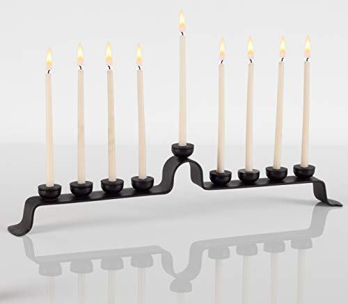 RTZEN Judaica - Royal Wrought Iron Hanukkah Menorah, Handmade, 9 Branches Israel Décor, for All 8 Nights of Chanukah, Blacksmith Hanukah Standard 5/16 Candles Holder, Uniquely Forged Rot Metal Black