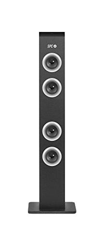 SPC Breeze Tower - Torre de Sonido (10W, Bluetooth, Radio FM, Lector de Tarjetas), Negra