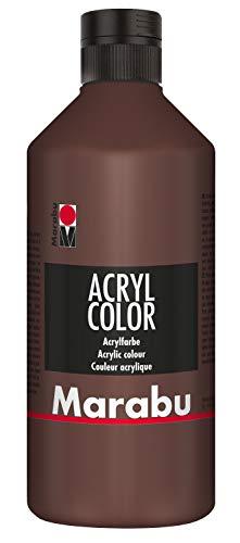 Marabu 12010075040 - Acryl Color mittelbraun 500 ml, cremige Acrylfarbe auf Wasserbasis, schnell trocknend, lichtecht, wasserfest, zum Auftragen mit Pinsel und Schwamm auf Leinwand, Papier und Holz