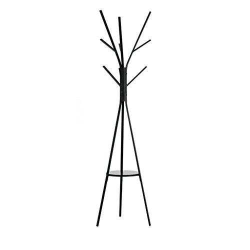 LICHUAN Coat Rack European Wrought Iron Storage Rack, Creative Hangers, 8 Hook Up Bedroom Coat Rack, Black, 180 CM Easy Assembly