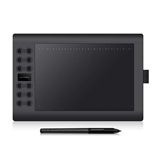 GAOMON M106KPRO 10 x 6.25 Inches Digital Graphics Drawing Tablet Android Supported with 8192 Levels Passive Pen and 28 Customized Buttons