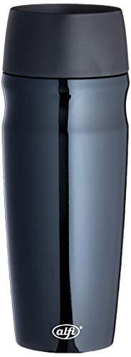 alfi Thermobecher isoMug, Kaffeebecher to go Edelstahl schwarz 350ml, Isolierbecher mit Druckknopf, schwappsicher, 5617.233.035, Coffee to Go 5 Stunden heiß, 10 Stunden kalt, BPA-Free