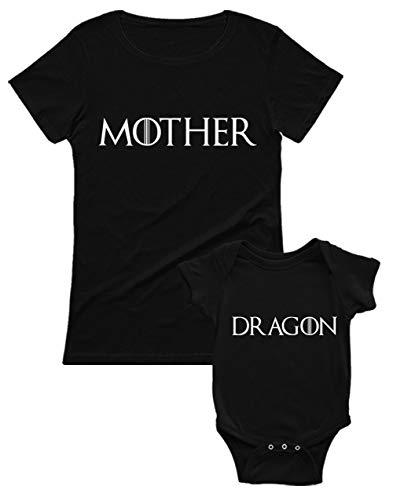 Green Turtle Mother and Dragon - Regalo para Mamá y Bebé Mamá Negro Small/Bebé Negro 3-6 Mes