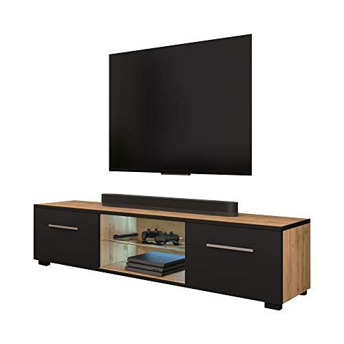 Selsey TV-Lowboard, Wotan Eiche Matt/Schwarz Matt mit LED, 140 x 40 x 36