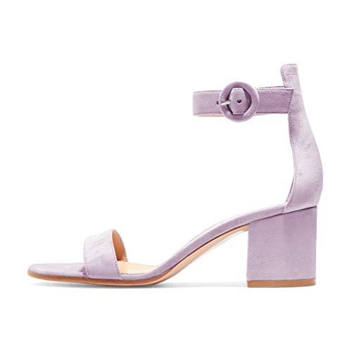 FSJ Women Basic Open Toe Sandals with Block Heels Faux Suede Ankle Strap Pumps Size 8.5 Lavender