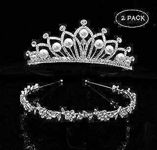 2 Pack Faux Pearl Wedding Bridal Tiara Crown Little Girls Princess Crystal Rhinestones Exquisite Headband Birthday Tiaras, Silver