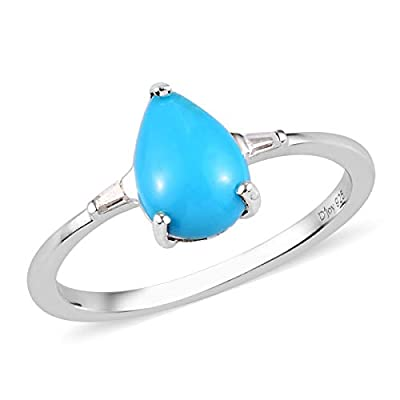 Platinum Plated 925 Sterling Silver Pear Sleeping Beauty Turquoise Zircon Promise Ring Engagement Anniversary Wedding Bridal Jewelry for Women Size 7