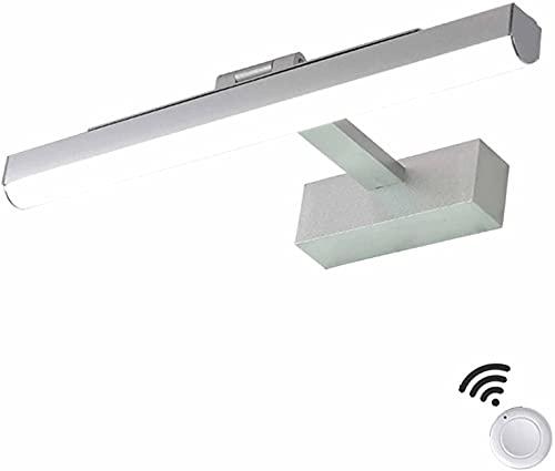 DIRIGIÓ Sobre la luz del espejo con control remoto, USB Luz de pared de baño recargable Luz de maquillaje portátil Impermeable, de aluminio Luz de espejo de baño con interruptor, 6500k Cabinete Luz Aj