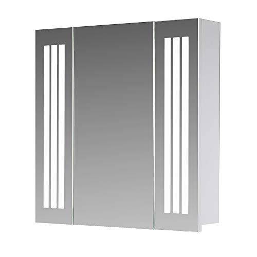 Eurosan 1-türiger Spiegelschrank, Superflach, Integrierte LED-Frontbeleuchtung, Breite 80 cm, Weiß, Sydney, S80