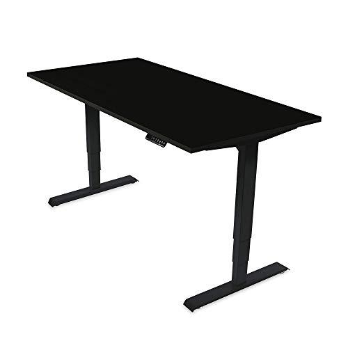 Ergotopia® Elektrisch höhenverstellbarer Schreibtisch   5 Jahre Garantie   Ergonomischer Steh-Sitz Tisch mit Memory Funktion   Beugt Rückenschmerzen vor & Macht produktiver (160x80, Schwarz, S)
