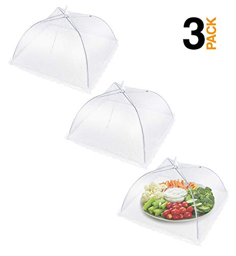 "Apecks - Mesh Food Covers for outdoors - (3-Pack) Extra Large Food Tents - Bug screen Protector - 17""x17"" - Umbrella Net For Flies, Bugs - Reusable & Collapsible - Plant Protector"