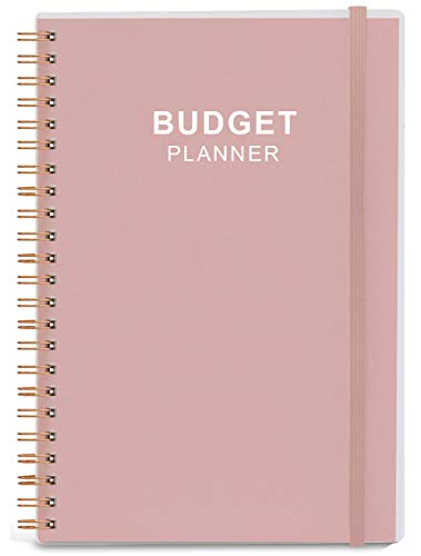 Budget Planner - Monthly Finance Organizer with Expense Tracker Notebook to Manage Your Money Effectively, Undated Finance Planner/Account Book, Start Anytime, 1 Year Use, A5, Rose