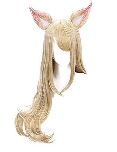 LZT - Peluca larga para mujer, 80 cm, rubio suelto, rizos LOL KDA Ahri Perucas Cosplay peluca con orejas para la Liga de Leyendas LOL con gorra de peluca