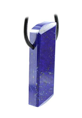 budawi® - Lapislazuli Anhänger Kettenanhänger gebohrt mit Lederband, Lapisstein