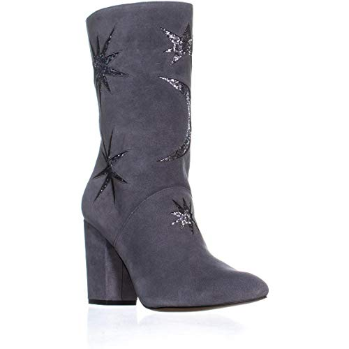 Avec Les Filles Nikita Mid-Calf Fashion Boots, Grey/Gunmetal Suede, 8.5 US