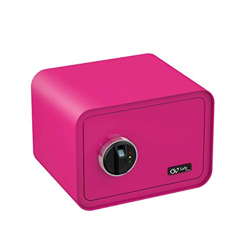 OLYMPIA Go Safe 100 Tresor Design Safe Möbeltresor Wandsafe Wandtresor Fingerprint, Farbe:Pink