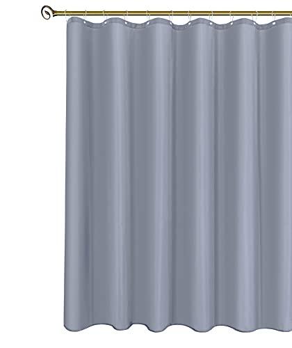 Biscaynebay Duschvorhang, Stoff, 182,9 x 183,9 cm, silbergrau, wasserabweisend, rostwiderstandsfähige Ösen & beschwerter Saum, maschinenwaschbar