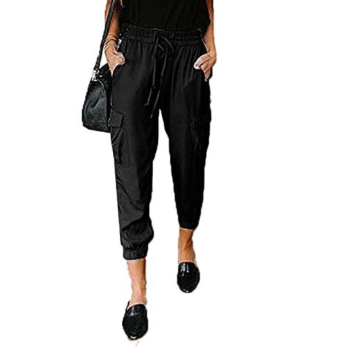 Primavera Y Verano Pantalones De Mujer Moda Color SóLido Pantalones Casuales Sueltos Bolsillos CordóN Pantalones con CordóN Mujeres