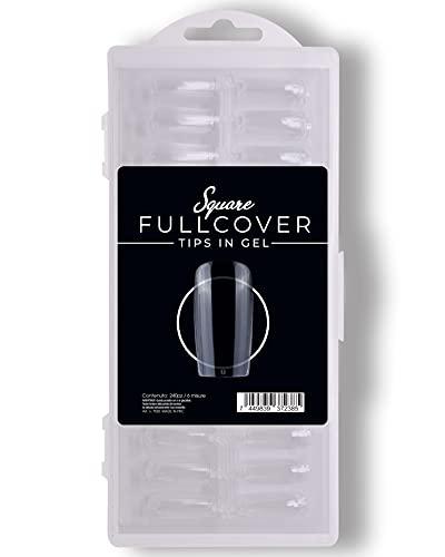 240 Pezzi Fullcover Tips in Gel a forma di Square Trasparenti, 6 misure Full Cover Unghie Finte per Ricostruzioni Mani, Nails e Tip Nail art