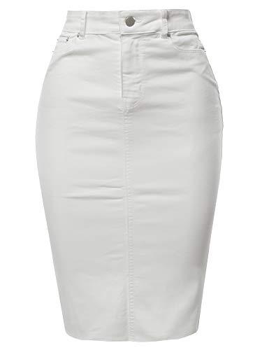 A2Y Slim Fit Rayon Knee Length Back Slit Denim Jean Pencil Skirt White S