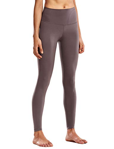 CRZ YOGA Damen Hohe Taille Sports Legging Tights Sporthose mit Verdeckte Tasche-71cm Lila Taupe 44