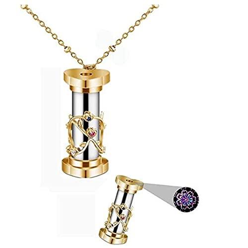 ZQSLZWZW Mini Collar con Colgante De Caleidoscopio De ReflexióN Colorida, Collar De Caleidoscopio De JoyeríA De Acero Inoxidable, Regalo De JoyeríA para NiñOs Adultos A