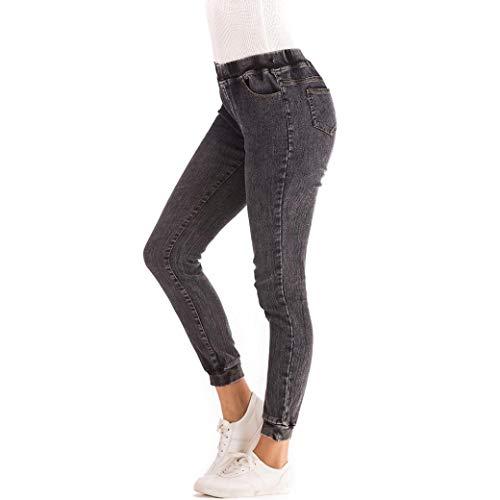 MORCHAN ❤ 2018 Femmes Automne élastique Plus Denim lâche Occasionnels Jeans recadrés Combinaisons Collants Pantalon Courts Leggings Knickerbockers(S,Gris)