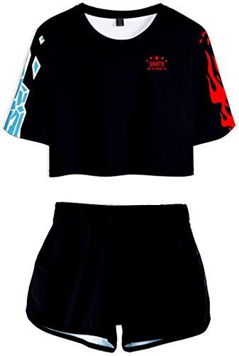 Silver Basic Conjunto de Pijama de Verano para Mujer My Hero Academia Camiseta y Pantalón de Uniforme Chándal Deku Himiko Toga Cosplay S,06Negro-4