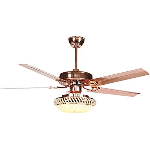 Ventiladores de techo de lujo con lámpara de vidrio y hojas de ventilador de galvanoplastia, tres engranajes de atenuación, con control remoto, ventiladores de techo de 42'75W para sala de cocina int